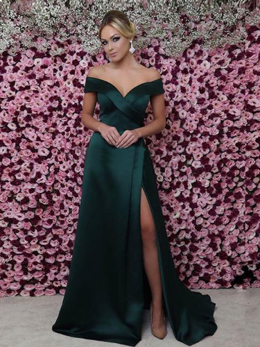 Cheap Prom Dresses A-line Dark Green Long Slit Prom Dress Sexy Evening Dress JKL1467|Annapromdress