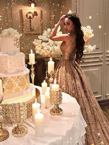 Luxury Prom Dresses Scoop Aline Gold Glitter Lace Long Sparkly Prom Dress JKL1469|Annapromdress
