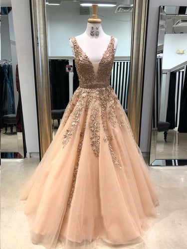 Beautiful Prom Dresses with Straps Aline Appliques Long Sparkly Open Back Prom Dress JKL1476|Annapromdress