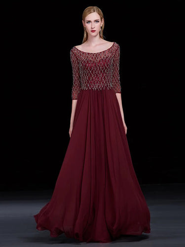 Chic Regency Prom Dresses Scoop A-line Floor-length Burgundy Prom Dress/Evening Dress JKL147