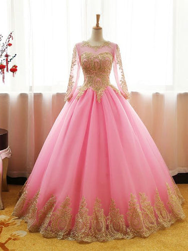 Long Sleeve Prom Dresses Gold Appliques Long Lace-up Pink Ball Gown Prom Dress JKL1480|Annapromdress