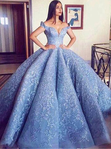 Ball Gown Prom Dresses Off-the-shoulder Fashion Sky Blue Big Prom Dress Luxury Evening Dress JKL1484|Annapromdress