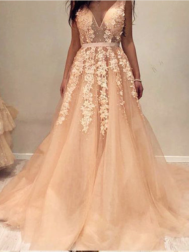 Open Back Prom Dresses Aline Sweep Train Appliques Long V-neck Prom Dress JKL1487|Annapromdress