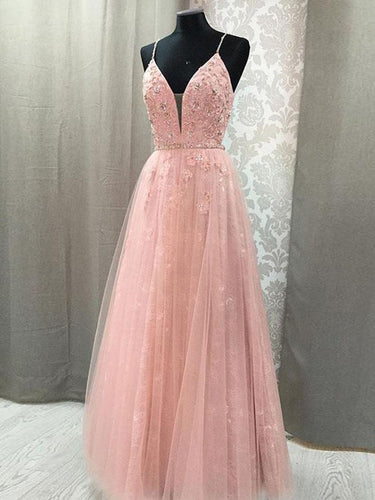 Pink Prom Dresses with Straps Aline Floor-length Appliques Long Lace Open Back Prom Dress JKL1488|Annapromdress