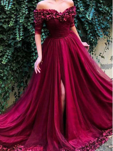 Half Sleeve Prom Dresses Off-the-shoulder Aline Hand-Made Flower Burgundy Long Slit Prom Dress JKL1491|Annapromdress