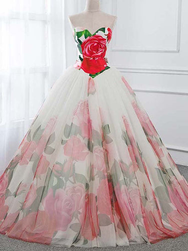 Ball Gown Prom Dresses Sweetheart Rose Floral Print Prom Dress Sexy Evening Dress JKL1492|Annapromdress