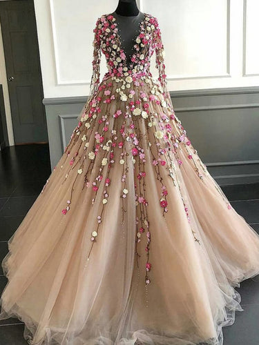 Long Sleeve Prom Dresses A Line Hand-Made Flower Floor-Length Long Beautiful Prom Dress JKL1494|Annapromdress