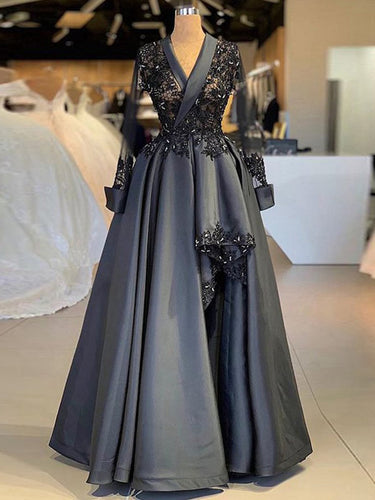 Long Sleeve Prom Dresses V-neck Fashion Black Prom Dress Lace Evening Dress JKL1495|Annapromdress