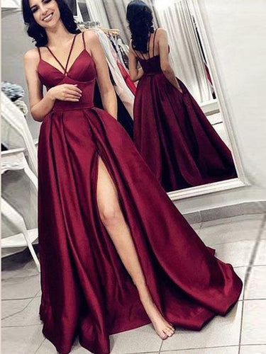 Simple Prom Dresses with Pockets Spaghetti Straps Sexy Burgundy Cheap Slit Prom Dress JKL1497|Annapromdress