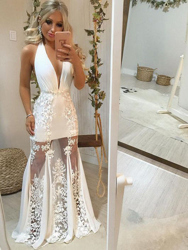 Chic Prom Dresses Halter Appliques Open Back Prom Dress Sexy Evening Dress JKL1498|Annapromdress