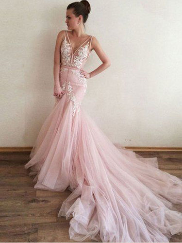 Open Back Prom Dresses V-neck Mermaid Sweep Train Appliques Pink Long Prom Dress JKL1499|Annapromdress