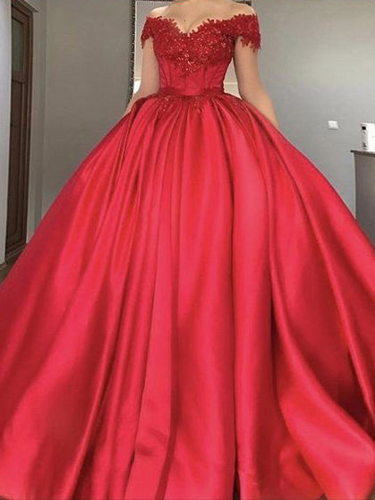 Beautiful Red Prom Dresses Ball Gown Sweep/Brush Train Long Prom ...