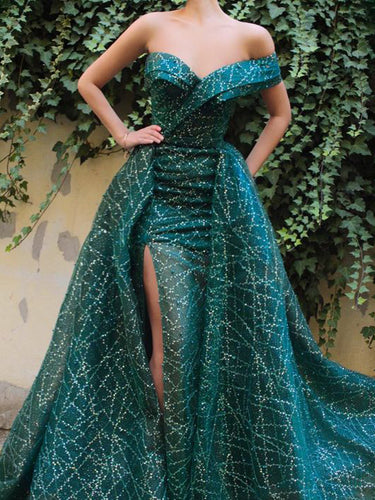 One Shoulder Prom Dresses with Slit Sweep Train Beautiful Lace Sparkly Prom Dress JKL1502|Annapromdress