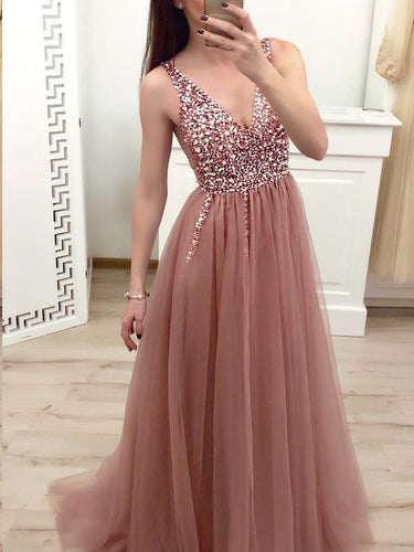 Sparkly Prom Dresses with Straps V-neck A Line Tulle Dusty Rose Sexy Prom Dress JKL1503|Annapromdress