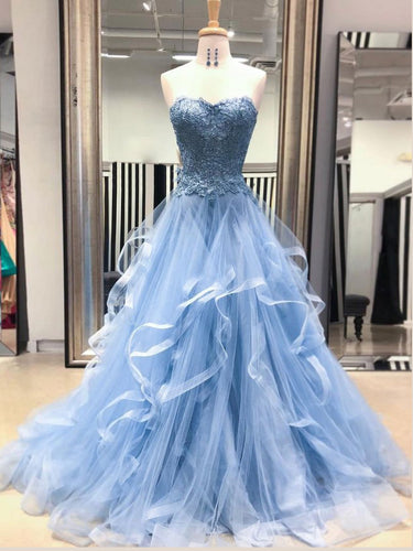 Chic Prom Dresses Sweetheart Sky Blue Ruffles Aline Lace Prom Dress Sexy Evening Dress JKL1504|Annapromdress
