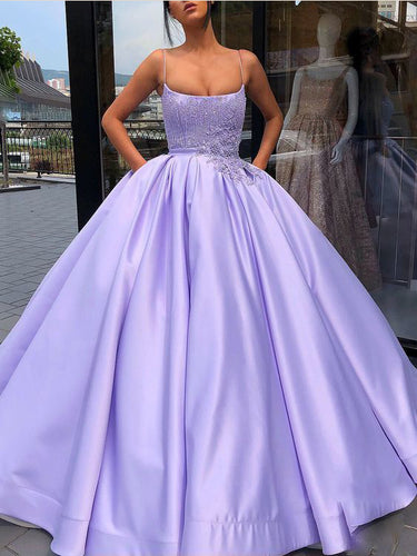 Luxury Prom Dresses with Spaghetti Straps Beading Ball Gown Long Lilac Prom Dress JKL1505|Annapromdress