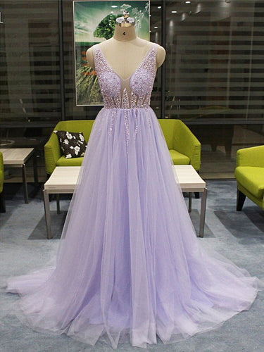 Open Back Prom Dresses Vneck Aline Beading Fashion Prom Dress Backless Evening Dress JKL1507|Annapromdress