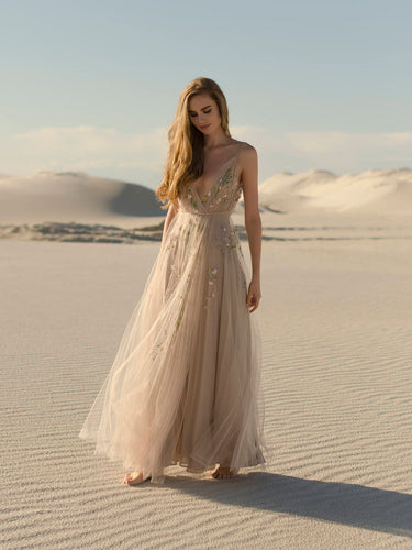 Backless Prom Dresses with Slit A Line Embroidery Beautiful Beach Open Back Prom Dress JKL1508|Annapromdress