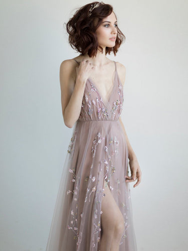 Sparkly Prom Dresses with Straps Embroidery V-neck A Line Sexy Slit Prom Dress JKL1509|Annapromdress