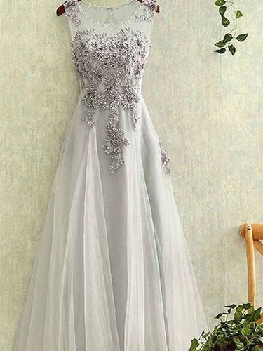 Chic Prom Dresses Appliques Scoop Lace-up Floor-length Prom Dress/Evening Dress JKL150