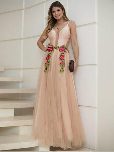 Chic Prom Dresses with Straps Aline Embroidery Long Prom Dress Sexy Evening Dress JKL1511|Annapromdress