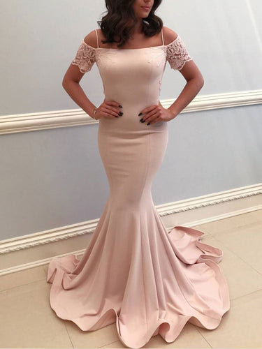 Open Back Prom Dresses with Spaghetti Straps Long Mermaid Backless Lace Prom Dress JKL1512|Annapromdress