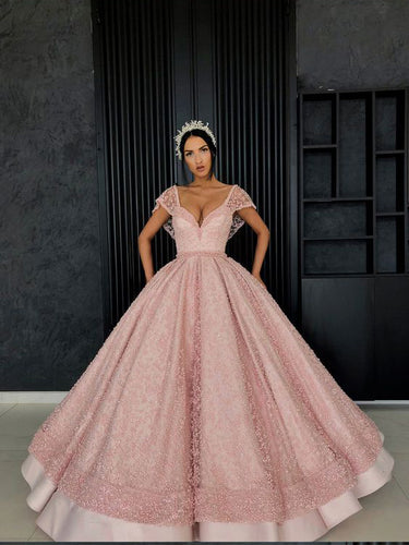 Ball Gown Prom Dresses V-neck Beading Long Pink Prom Dress Luxury Evening Dress JKL1518|Annapromdress
