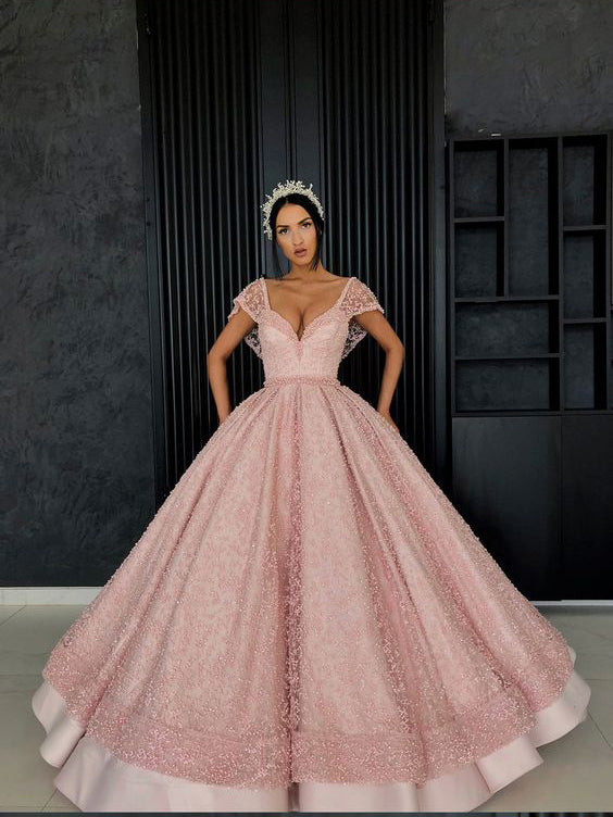 2c95dccbcce Ball Gown Prom Dresses V-neck Beading Long Pink Prom Dress Luxury Evening  Dress JKL1518