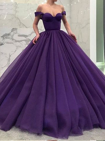 Ball Gown Prom Dresses Off-the-shoulder Ruffles Long Black Big Simple Prom Dress JKL1519|Annapromdress