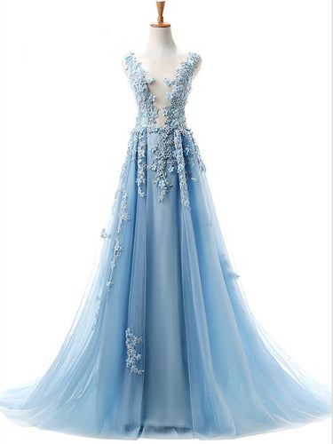 Beautiful Prom Dresses Scoop A Line 3D Flowers Sweep Train Blue Long Prom Dress JKL1520|Annapromdress