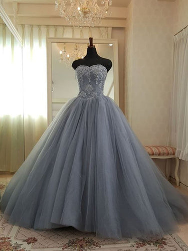Ball Gown Prom Dresses Sweetheart Appliques Fashion Big Grey Prom Dress Chic Evening Dress JKL1521|Annapromdress