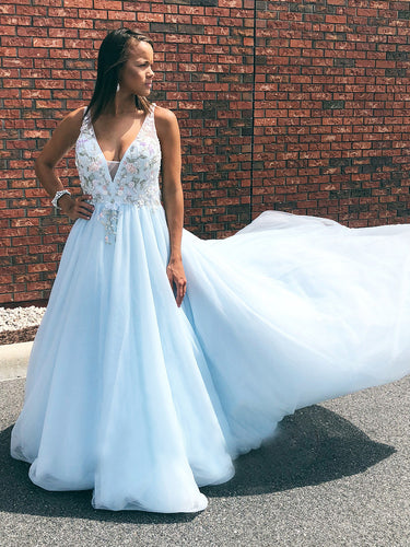 Open Back Prom Dresses with Straps A Line V-neck Long Embroidery Sky Blue Prom Dress JKL1522|Annapromdress