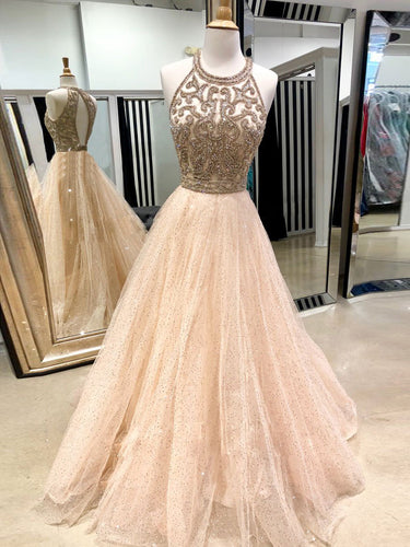 Sparkly Prom Dresses Scoop A-line Floor-length Gold Open Back Prom Dress JKL1524|Annapromdress