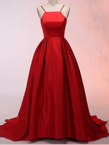 Red Prom Dresses Spaghetti Straps Long Ruffles Simple Prom Dress Satin Evening Dress JKL1529|Annapromdress