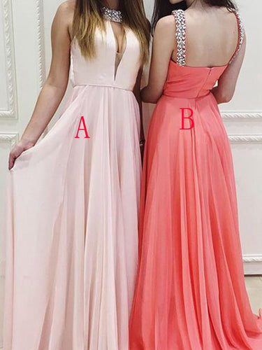 Watermelon Prom Dresses High Neck Straps Sexy Long Pearl Pink Prom Dress/Evening Dress JKL152