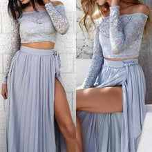Two Piece Prom Dresses Off-the-shoulder Long Sexy Lace Prom Dress/Evening Dress JKL153