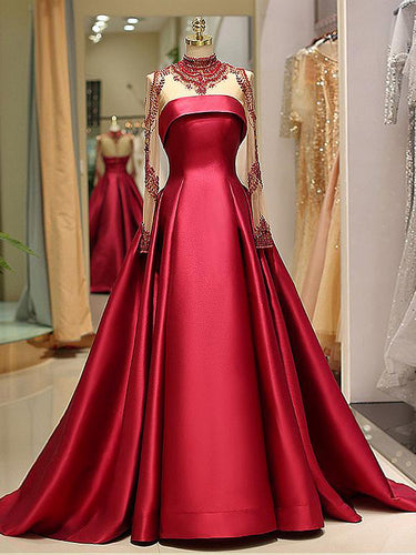 Long Sleeve Prom Dresses High Neck Burgundy Long Prom Dress Satin Evening Dress JKL1530|Annapromdress