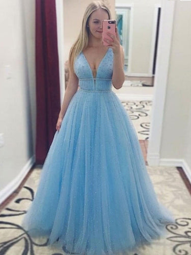 Sparkly Prom Dresses with Straps Long Pearl Beading Prom Dress Sky Blue Evening Dress JKL1532|Annapromdress