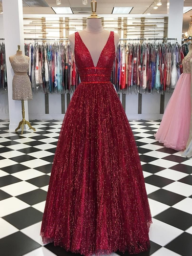 Burgundy Prom Dresses with Straps Aline Long Open Back Sparkly Lace Prom Dress JKL1533|Annapromdress