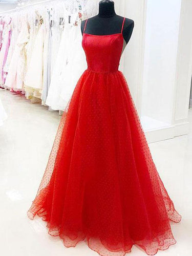 Red Prom Dresses with Straps A-line Polka Dot Lace Sexy Beautiful Prom Dress JKL1537|Annapromdress