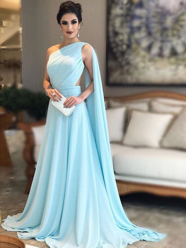 One Shoulder Prom Dresses Aline Long Ruffles Blue Simple Cheap Prom Dress JKL1540|Annapromdress
