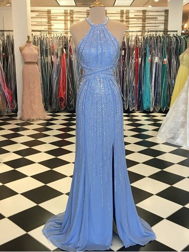 Sparkly Prom Dresses Column Beading Halter Luxury Open Back Prom Dress JKL1541|Annapromdress