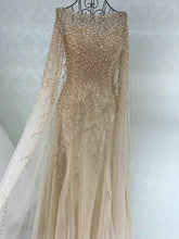 Long Sleeve Prom Dresses A Line Sweep Train Long Beading Sparkly Prom Dress JKL1547|Annapromdress