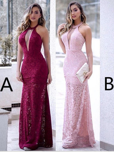 Burgundy Prom Dresses Halter Sheath Lace Sexy Beautiful Pink Prom Dress JKL1548|Annapromdress