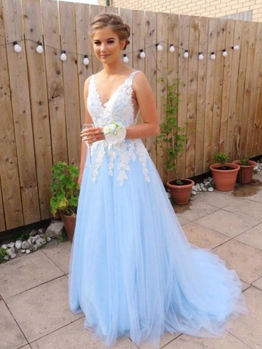 Beautiful Prom Dresses with Straps V-neck Aline Open Back Prom Dress JKL1551|Annapromdress