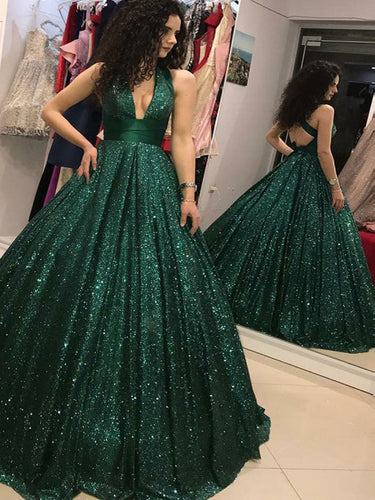 Open Back Prom Dresses V-neck A-line Long Dark Green Prom Dress Sexy Evening Dress JKL1552|Annapromdress