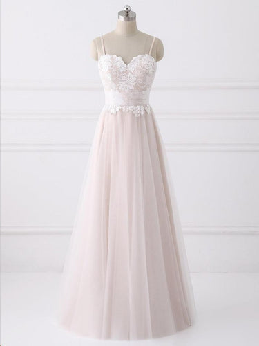 Fairy Prom Dresses with Straps Lace Long Blush Pink Beautiful Prom Dress JKL1559|Annapromdress
