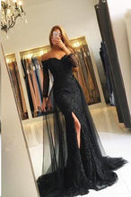 Long Sleeve Prom Dresses Off-the-shoulder Lace Long Beautiful Slit Prom Dress JKL1560|Annapromdress