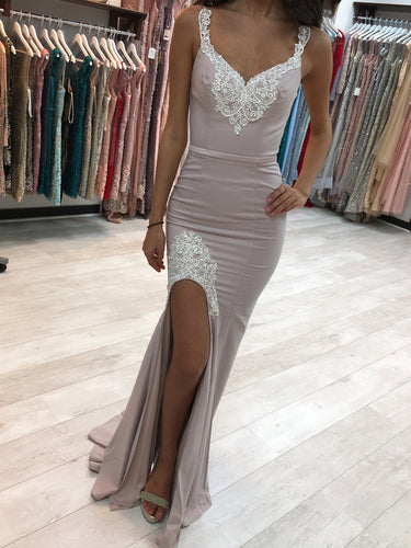 Sexy Prom Dresses with Straps V Neck Sheath Appliques Long Slit Prom Dress JKL1562|Annapromdress
