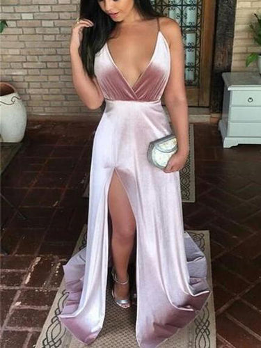 Cheap Prom Dresses A-line Spaghetti Straps Deep V Sexy Prom Dress Long Evening Dress JKL1564|Annapromdress